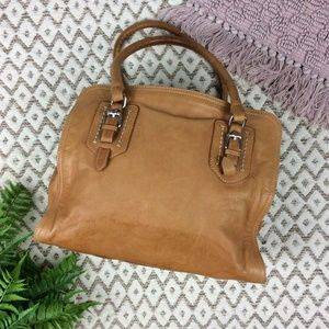 Minelli Tan Leather Buckle Strap Shoulder Bag